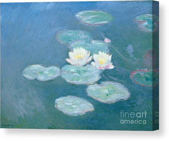 Waterlilies Canvas Print featuring the painting Waterlilies Evening by Claude Monet