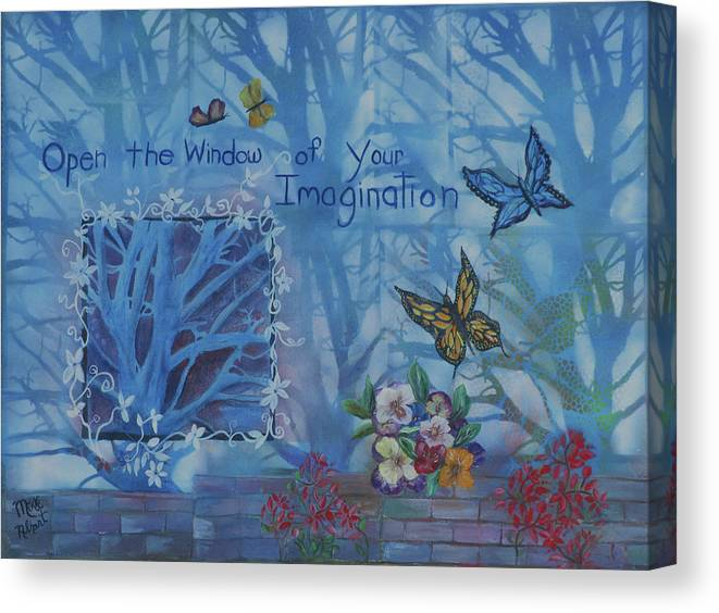 Inspirational Canvas Print featuring the mixed media Window of Imagination by Mikki Alhart