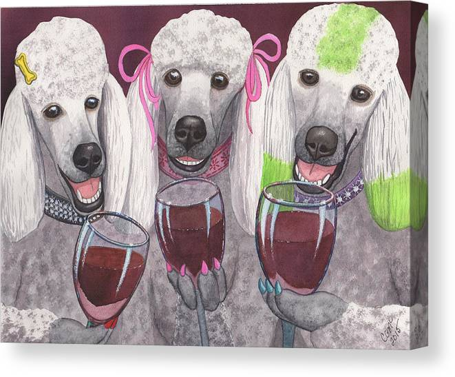 Poodle Canvas Print featuring the painting Wining Bitches by Catherine G McElroy