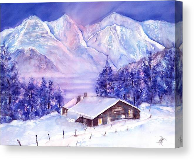 Swiss Mountains Watercolor Canvas Print featuring the painting Swiss Mountains - Winter scene with Eiger Moench Jungfrau by Sabina Von Arx