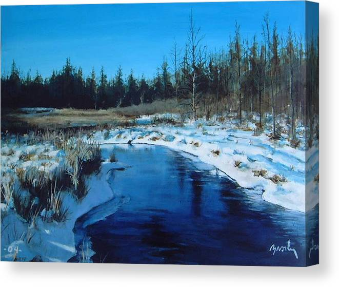 Landscape Realistic Canvas Print featuring the painting Winter Stream by William Brody