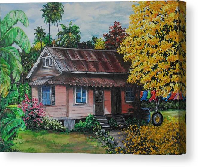 Old House Canvas Print featuring the painting Yellow Poui Time by Karin Dawn Kelshall- Best
