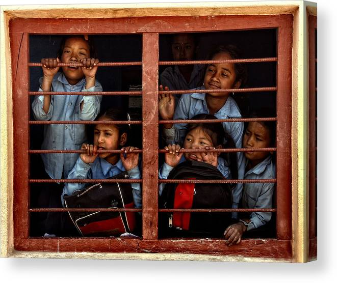 Nepal Canvas Print featuring the photograph Children Of Nepal - Series by Yvette Depaepe