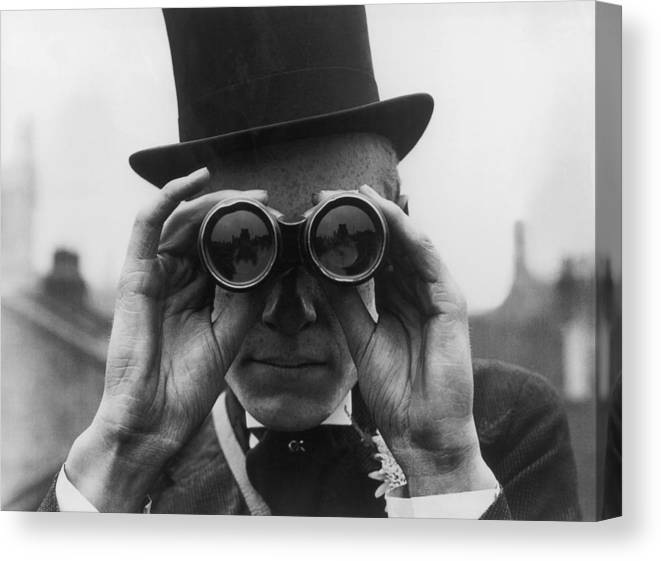 One Man Only Canvas Print featuring the photograph Derby Spectator by Topical Press Agency