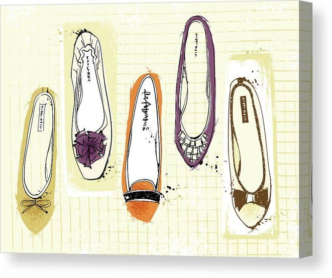 Purple Canvas Print featuring the digital art Feminine Shoes by Eastnine Inc.