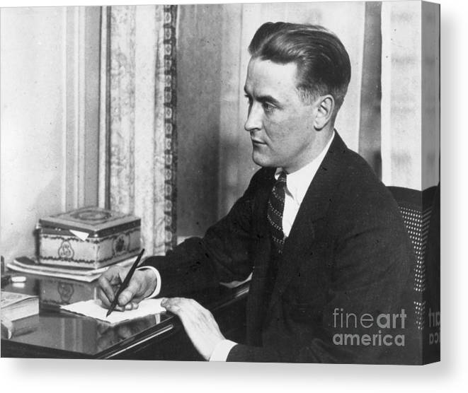 People Canvas Print featuring the photograph F.scott Fitzgerald Writing At Desk by Bettmann
