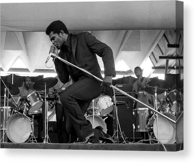 James Brown - Singer Canvas Print featuring the photograph James Brown At Newport Jazz Festival by Tom Copi