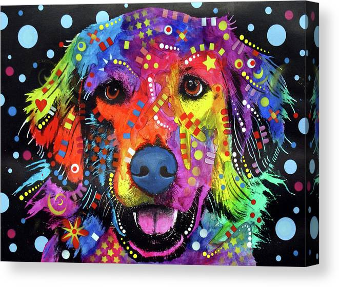 Golden Retriever Canvas Print featuring the mixed media Love Is Golden by Dean Russo