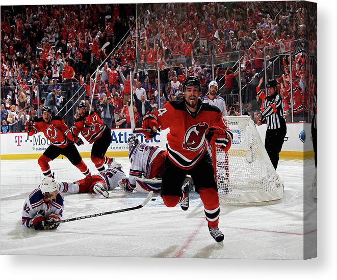 Playoffs Canvas Print featuring the photograph New York Rangers V New Jersey Devils - by Bruce Bennett