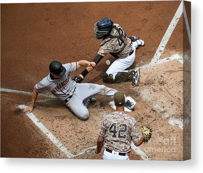 Second Inning Canvas Print featuring the photograph San Franciso Giants V San Diego Padres by Denis Poroy