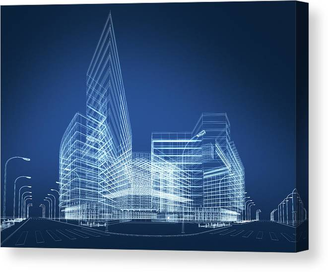 Three Dimensional Canvas Print featuring the photograph 3d Architecture Abstract by Nadla