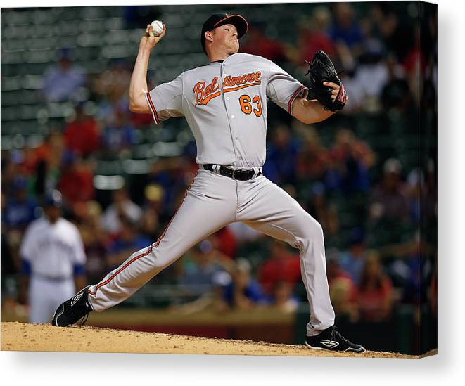 Ninth Inning Canvas Print featuring the photograph Baltimore Orioles V Texas Rangers by Tom Pennington