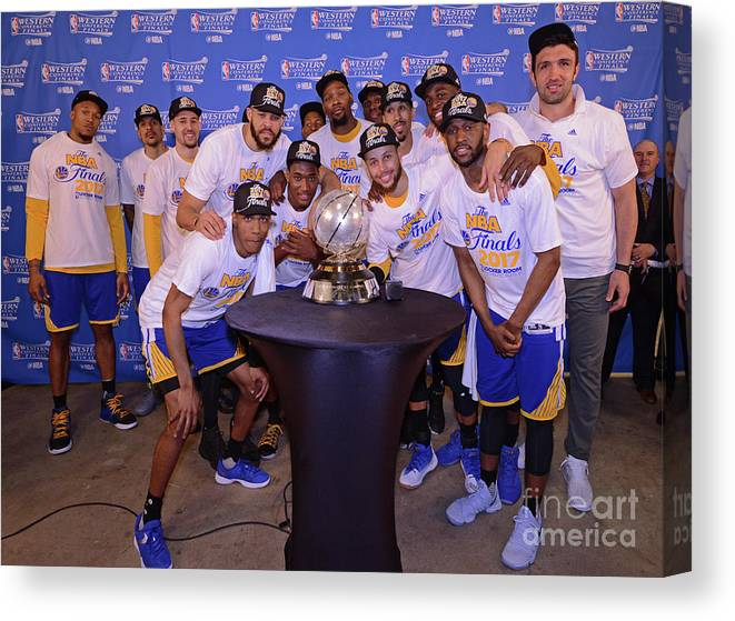 Playoffs Canvas Print featuring the photograph Golden State Warriors V San Antonio by Noah Graham
