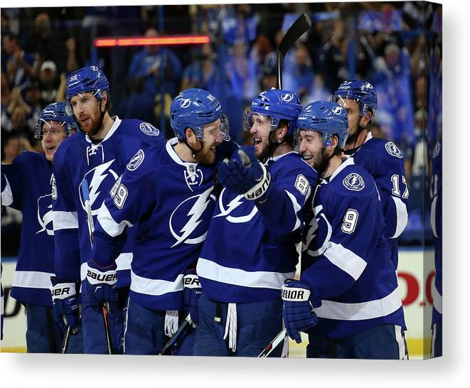 Playoffs Canvas Print featuring the photograph New York Rangers V Tampa Bay Lightning by Bruce Bennett