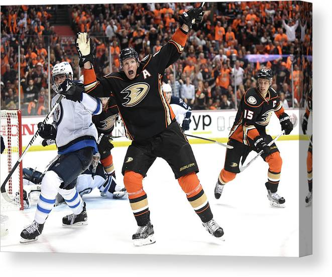 Playoffs Canvas Print featuring the photograph Winnipeg Jets V Anaheim Ducks - Game One by Harry How