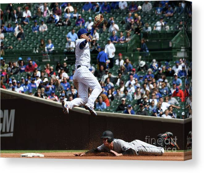 People Canvas Print featuring the photograph Miami Marlins V Chicago Cubs by David Banks