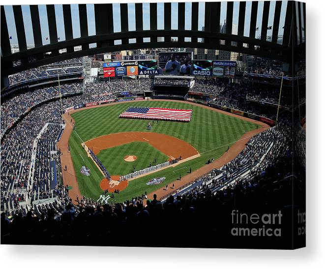 American League Baseball Canvas Print featuring the photograph Toronto Blue Jays V New York Yankees by Elsa