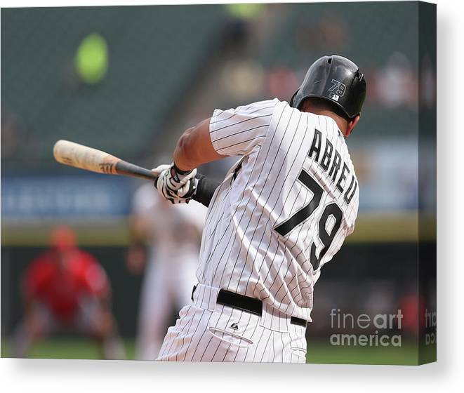 American League Baseball Canvas Print featuring the photograph Los Angeles Angels Of Anaheim V Chicago by Jonathan Daniel