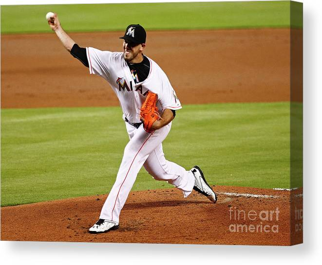 People Canvas Print featuring the photograph Washington Nationals V Miami Marlins by Mike Ehrmann