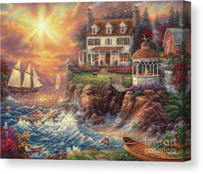 New England Canvas Print featuring the painting Life Above the Fray by Chuck Pinson