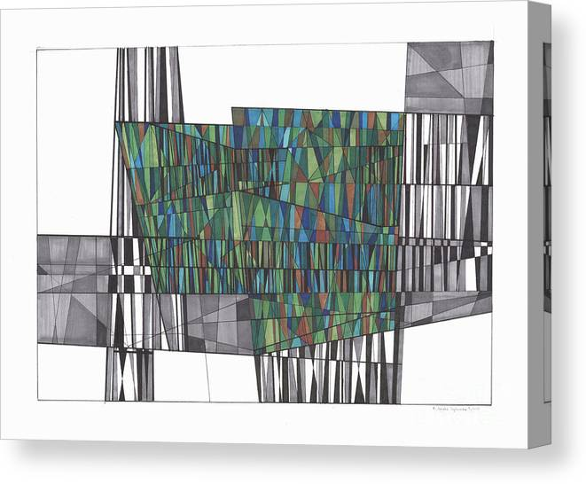 Abstract Canvas Print featuring the drawing Abstract 37 by Rickie Jacobs