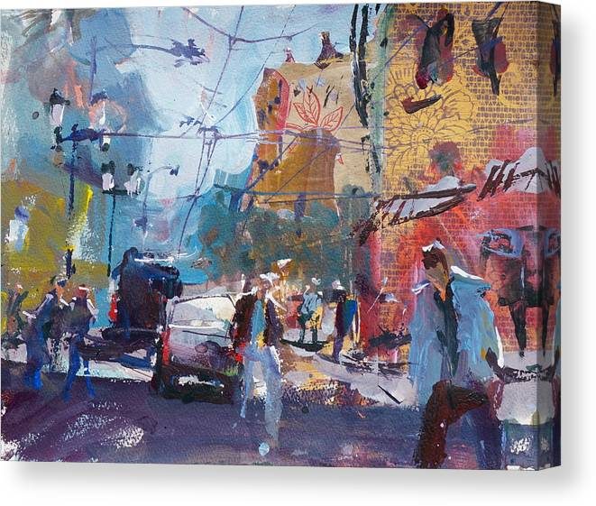 Morning In The City Stretched Canvas Print Framed Wall Art Painting Home Decor