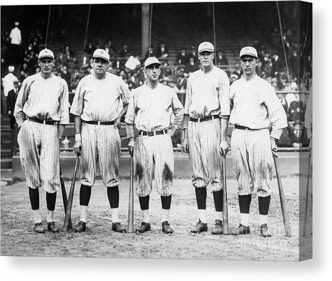 American League Baseball Canvas Print featuring the photograph Babe Ruth Murderers Row 1921 by Transcendental Graphics
