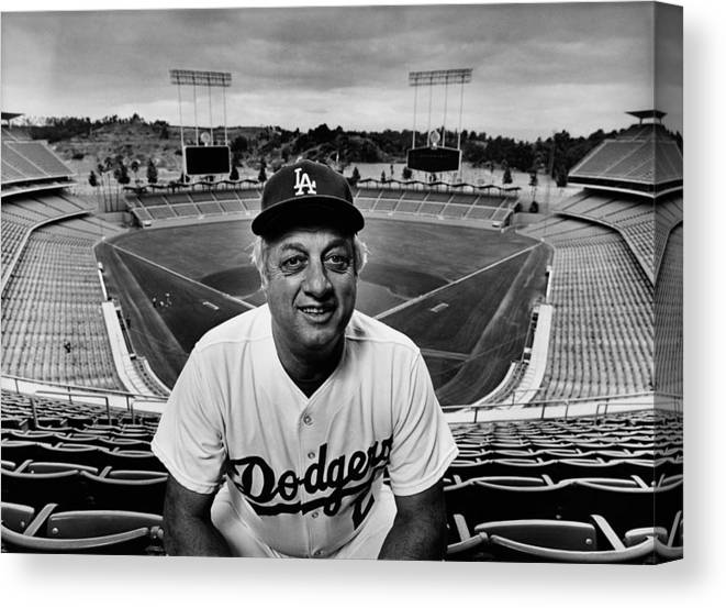 Event Canvas Print featuring the photograph Baseball Manager Tommy Lasorda Portrait by George Rose