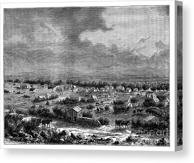 Working Animal Canvas Print featuring the drawing Berkly Or Klipdrift, A Town by Print Collector
