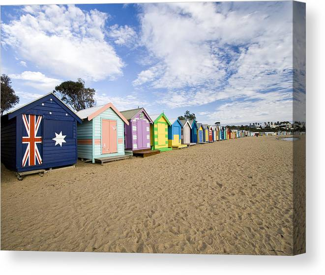 Steps Canvas Print featuring the photograph Brighton Beach Huts by Samvaltenbergs