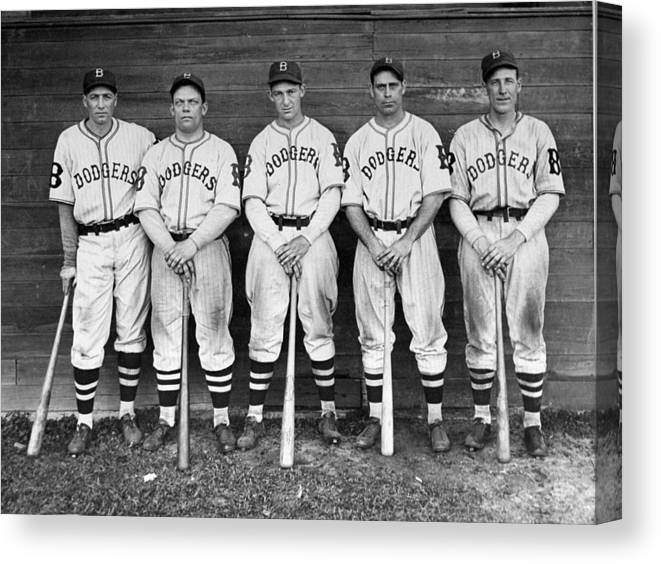 1930-1939 Canvas Print featuring the photograph Brooklyn Dodgers Outfielders L. To R by New York Daily News Archive