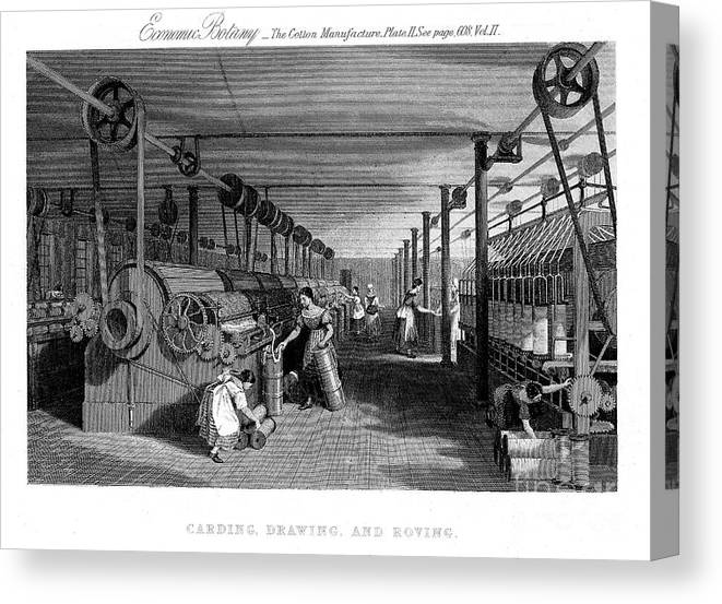 Event Canvas Print featuring the drawing Carding, Drawing And Roving Cotton by Print Collector