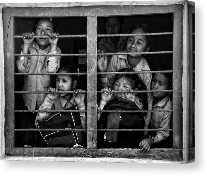 Documentary Canvas Print featuring the photograph Children Of Kathmandu (1) Mono Version by Yvette Depaepe