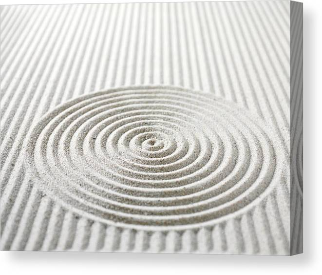 In A Row Canvas Print featuring the photograph Circles And Lines In Sand by Wragg