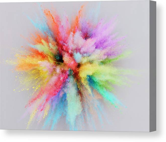 Orange Color Canvas Print featuring the photograph Colorful Powder Explosion by Stilllifephotographer