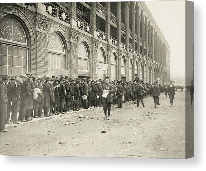 Horse Canvas Print featuring the photograph Dodgers Fans In Line At Ebbets Field by Fpg