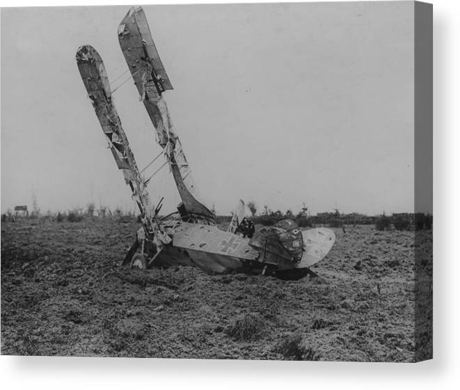 Military Airplane Canvas Print featuring the photograph Downed Fokker by Hulton Archive