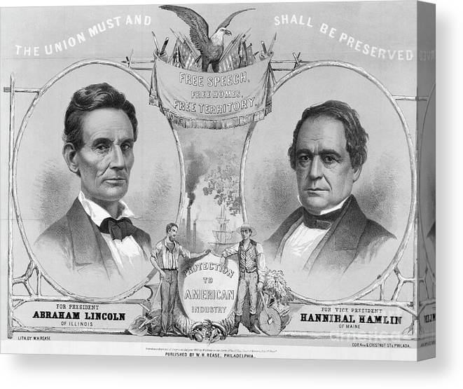 Art Canvas Print featuring the photograph Election Poster With Abraham Lincoln by Bettmann