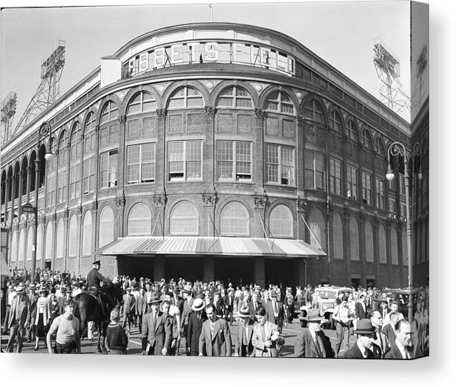 Following Canvas Print featuring the photograph Fans Leave Ebbets Field by David E. Scherman