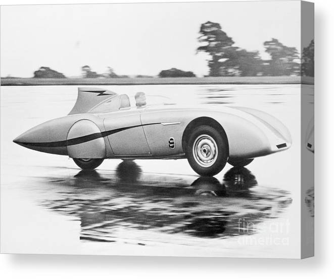 People Canvas Print featuring the photograph Healey Racing At Bonneville Salt Flats by Bettmann