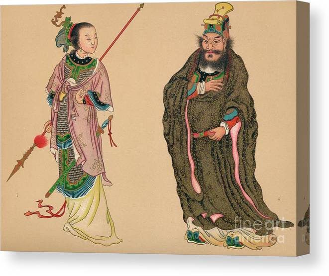 People Canvas Print featuring the drawing Heroes And Heroines Of Chinese History by Print Collector
