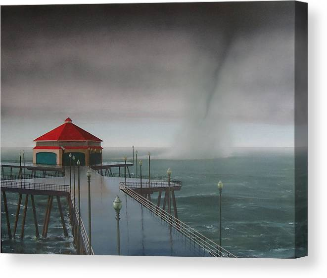 Huntington Beach Canvas Print featuring the painting Huntington Beach Pier waterspout by Philip Fleischer