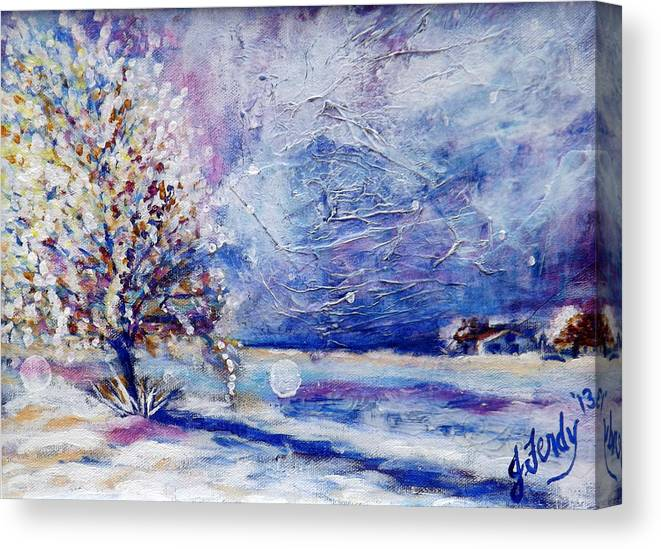 Landscape Painting Canvas Print featuring the painting La Junta Winter by Goddess Rockstar