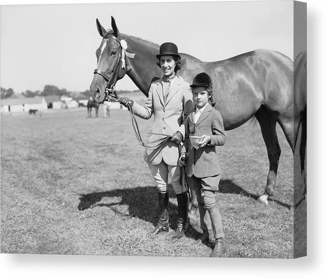 Horse Canvas Print featuring the photograph Mother & Daughter Equestrians by Bert Morgan