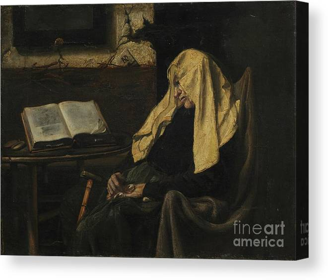 Senior Women Canvas Print featuring the drawing Old Woman Asleep by Heritage Images