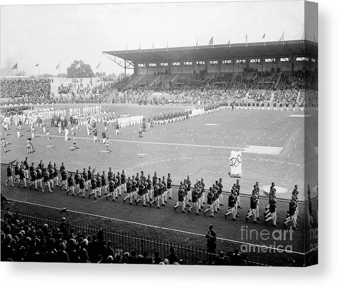 The Olympic Games Canvas Print featuring the photograph Parade Opening Olympic Games by Bettmann