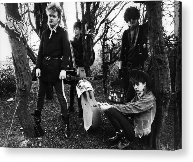 1980-1989 Canvas Print featuring the photograph Photo Of Dave Sharp And Alarm And Mike by Erica Echenberg