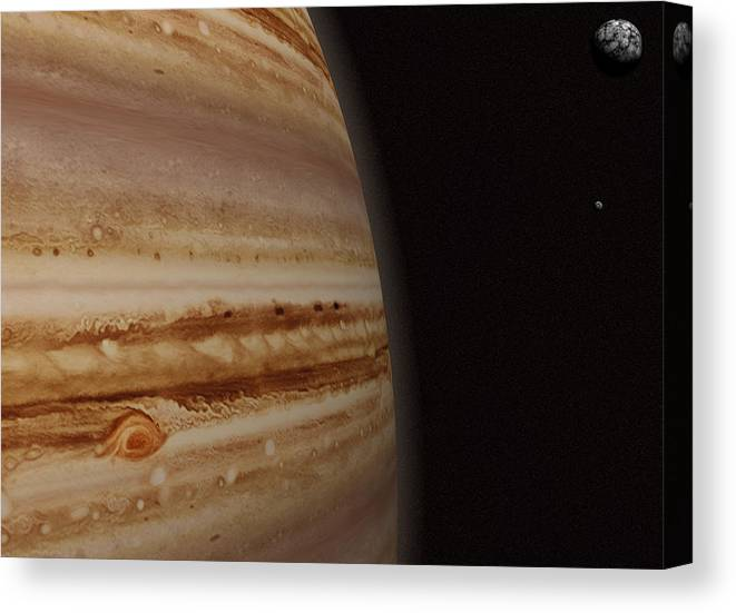 Black Color Canvas Print featuring the photograph Planet Jupiter And A Distant Moon by Jason Reed