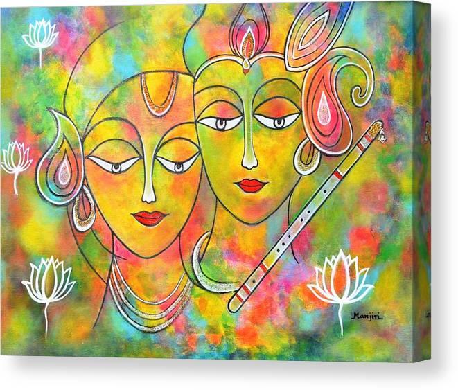 Holifestival Canvas Print featuring the painting Radh Krishna Holi abstract II colorful vibrant by Manjiri Kanvinde