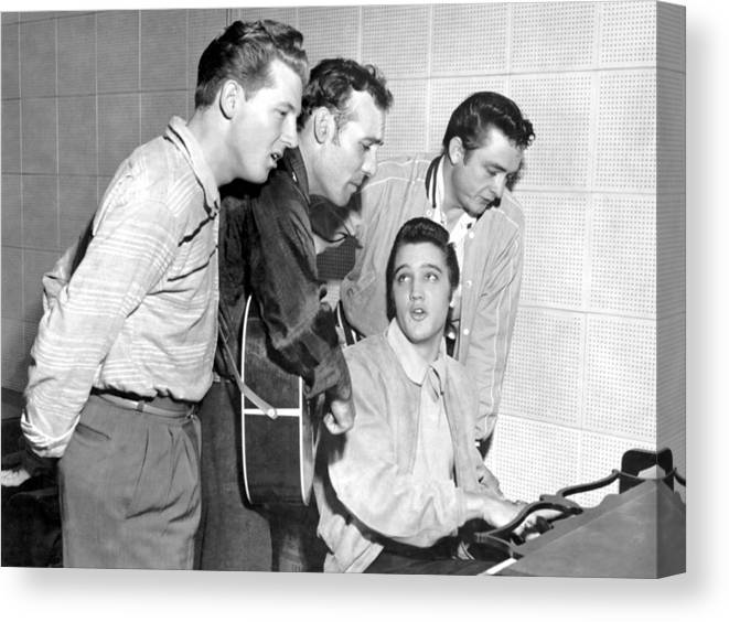 1950-1959 Canvas Print featuring the photograph Rock And Roll Musicians Jerry Lee by Michael Ochs Archives